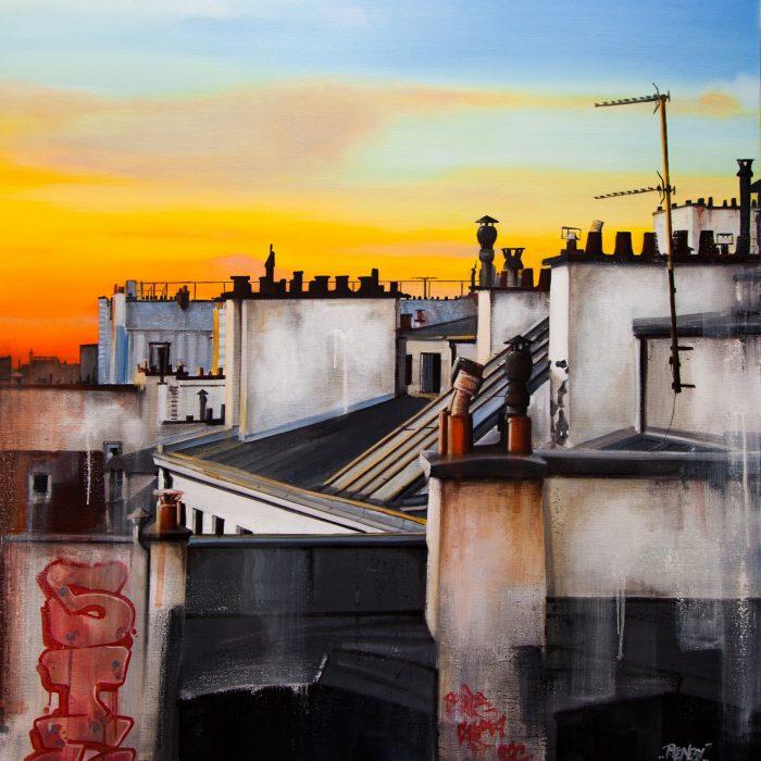 Huile sur toile TOITS DE PARIS 1 120X120 2015