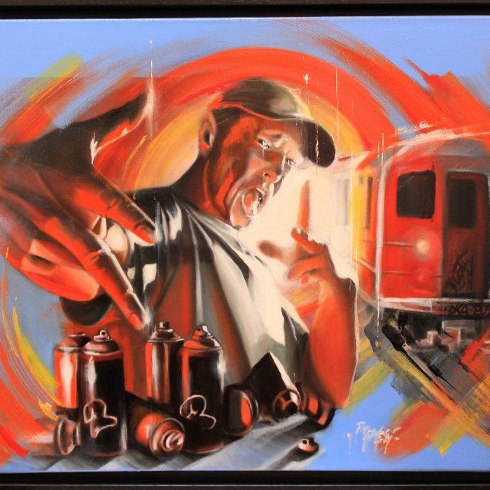 New York Train huile sur toile 65x50 2008