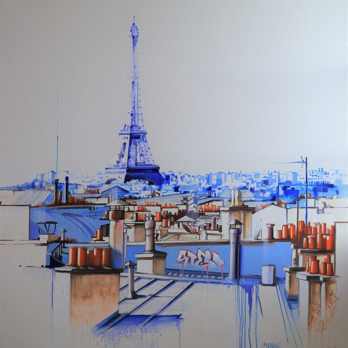 PARIS Rooftop huile sur toile 120x120