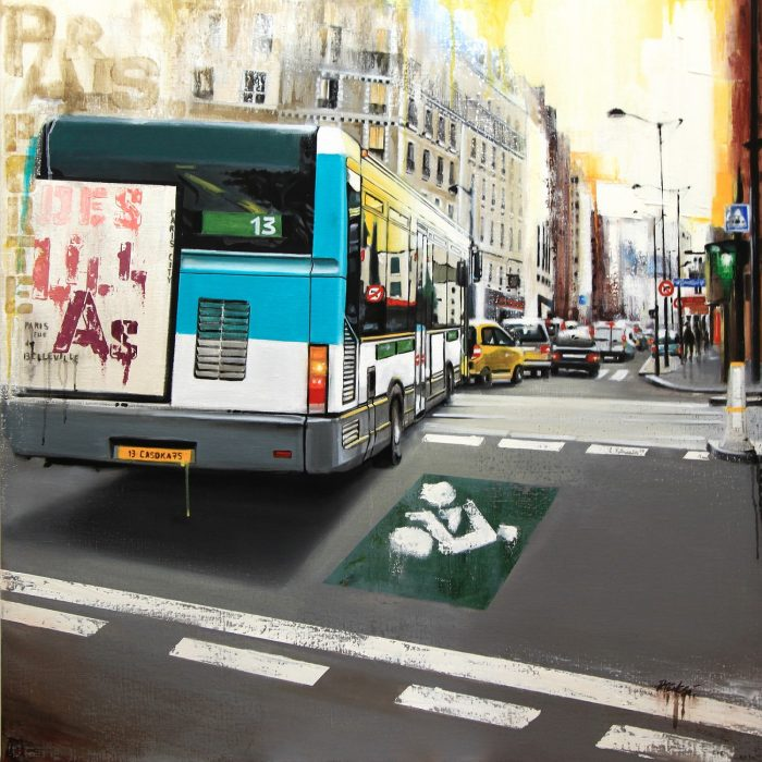 PARIS porte des Lilas Huile sur toile 80x80