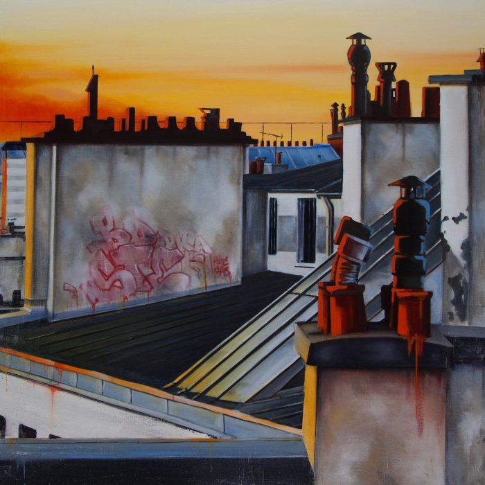 huile sur toile TOITS DE PARIS 120x120 2015